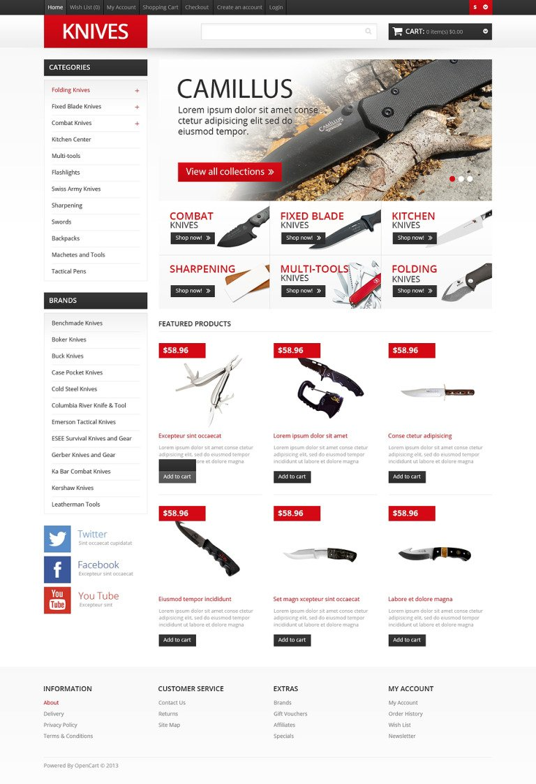 Responsive Knives Store OpenCart Template New Screenshots BIG