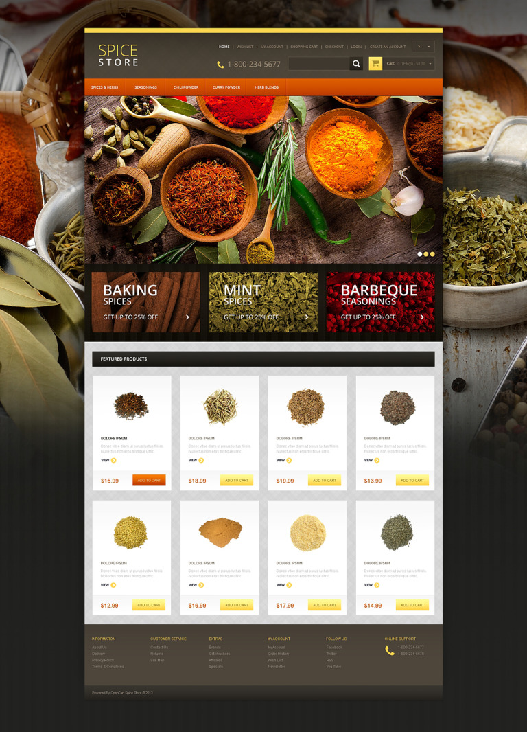 Responsive Spice Store OpenCart Template New Screenshots BIG
