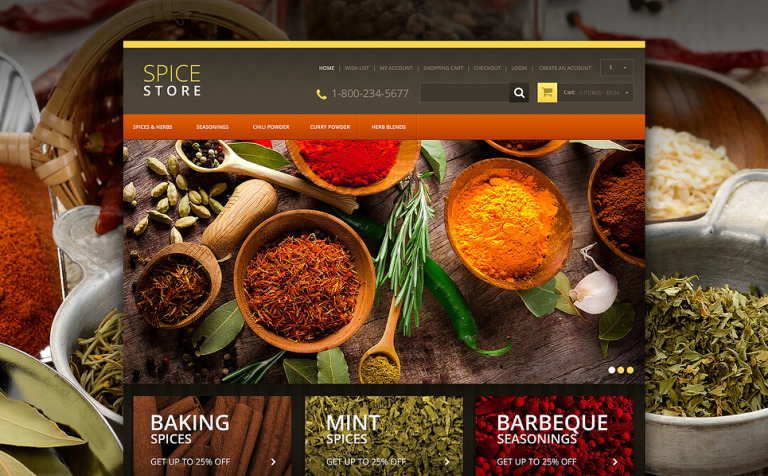 Responsive Spice Store OpenCart Template
