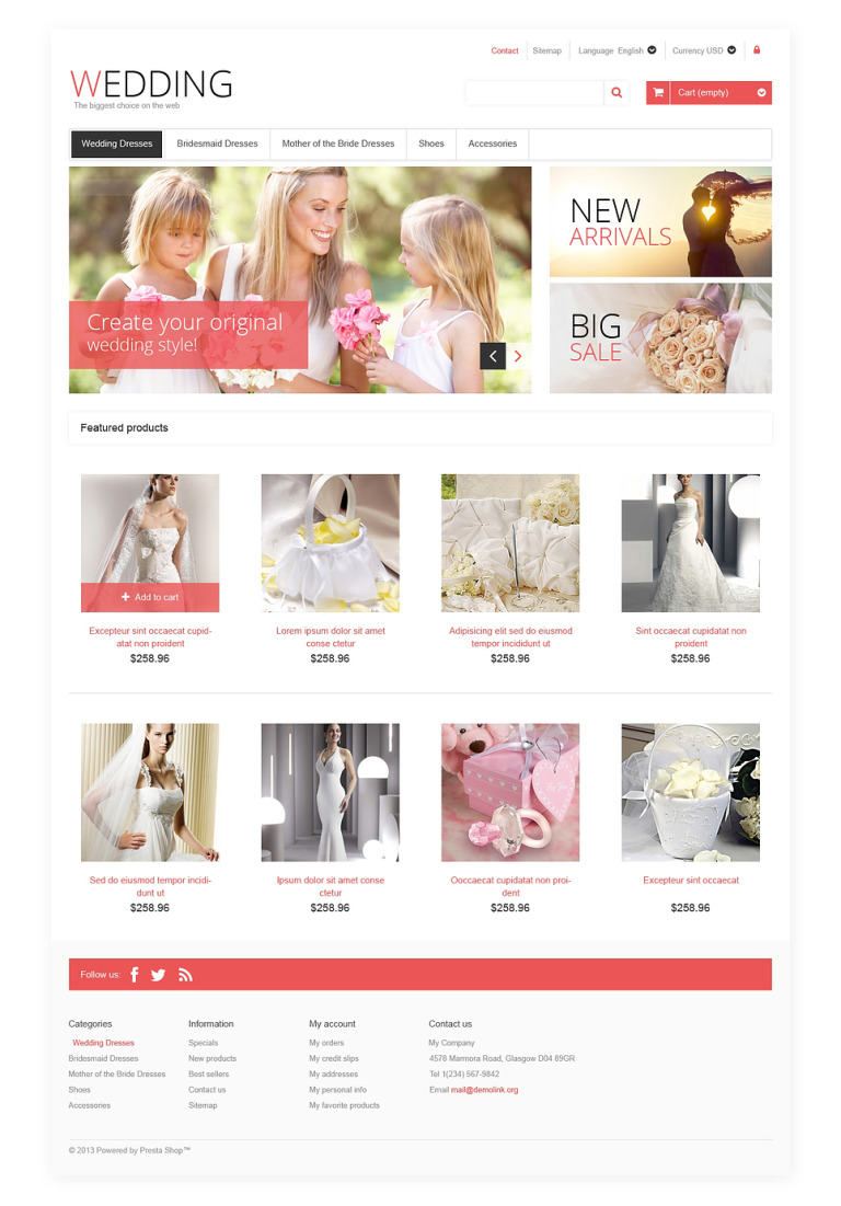 Responsive Wedding Store PrestaShop Theme New Screenshots BIG