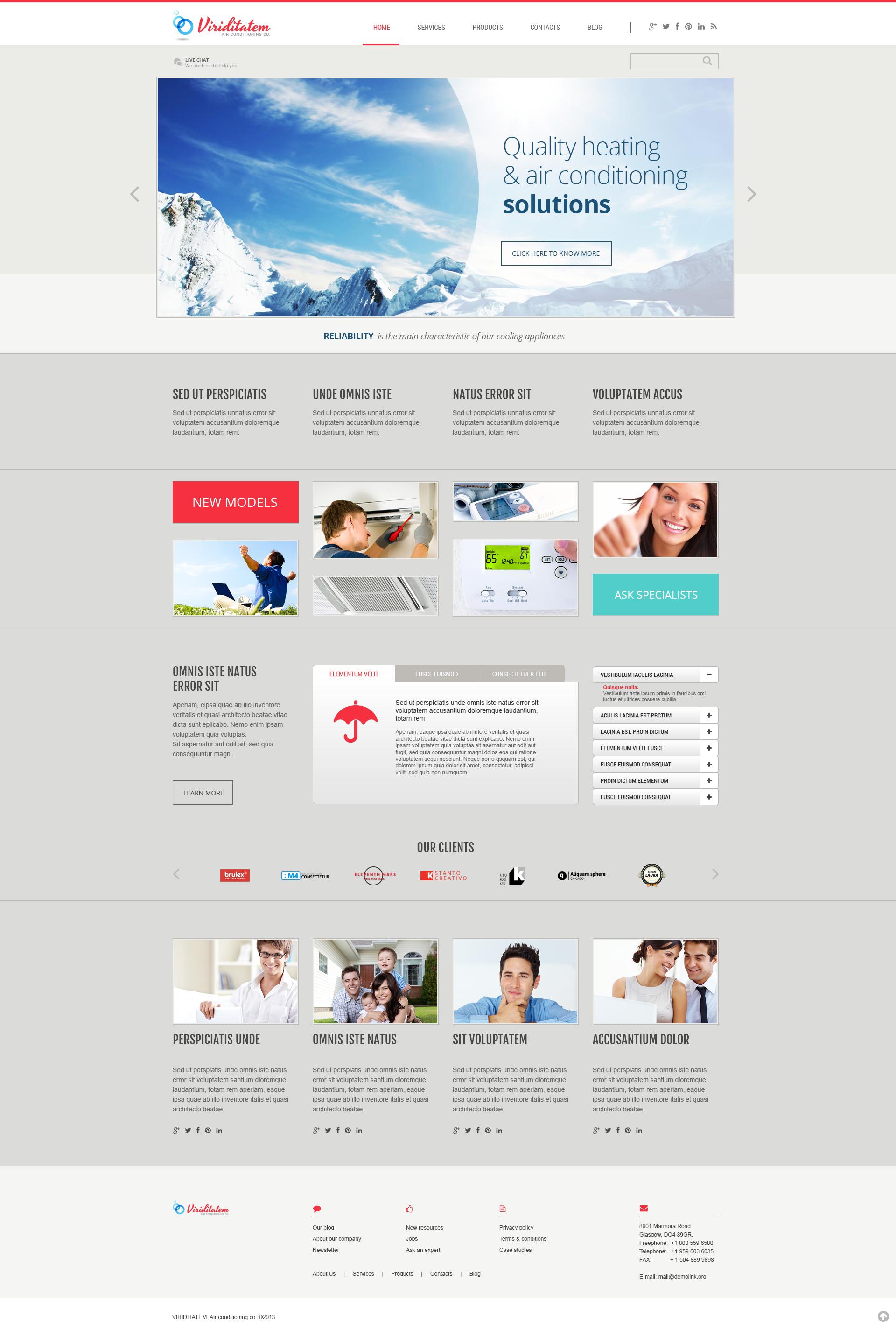 Responsivt Air Conditioning Company WordPress-tema #46087