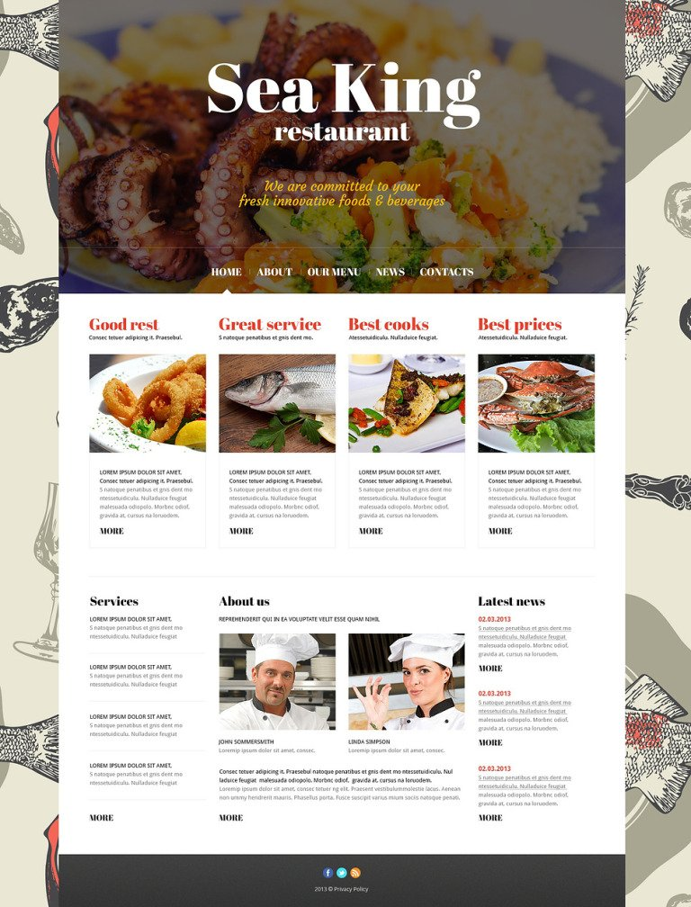 Sea King Restaurant Joomla Template New Screenshots BIG