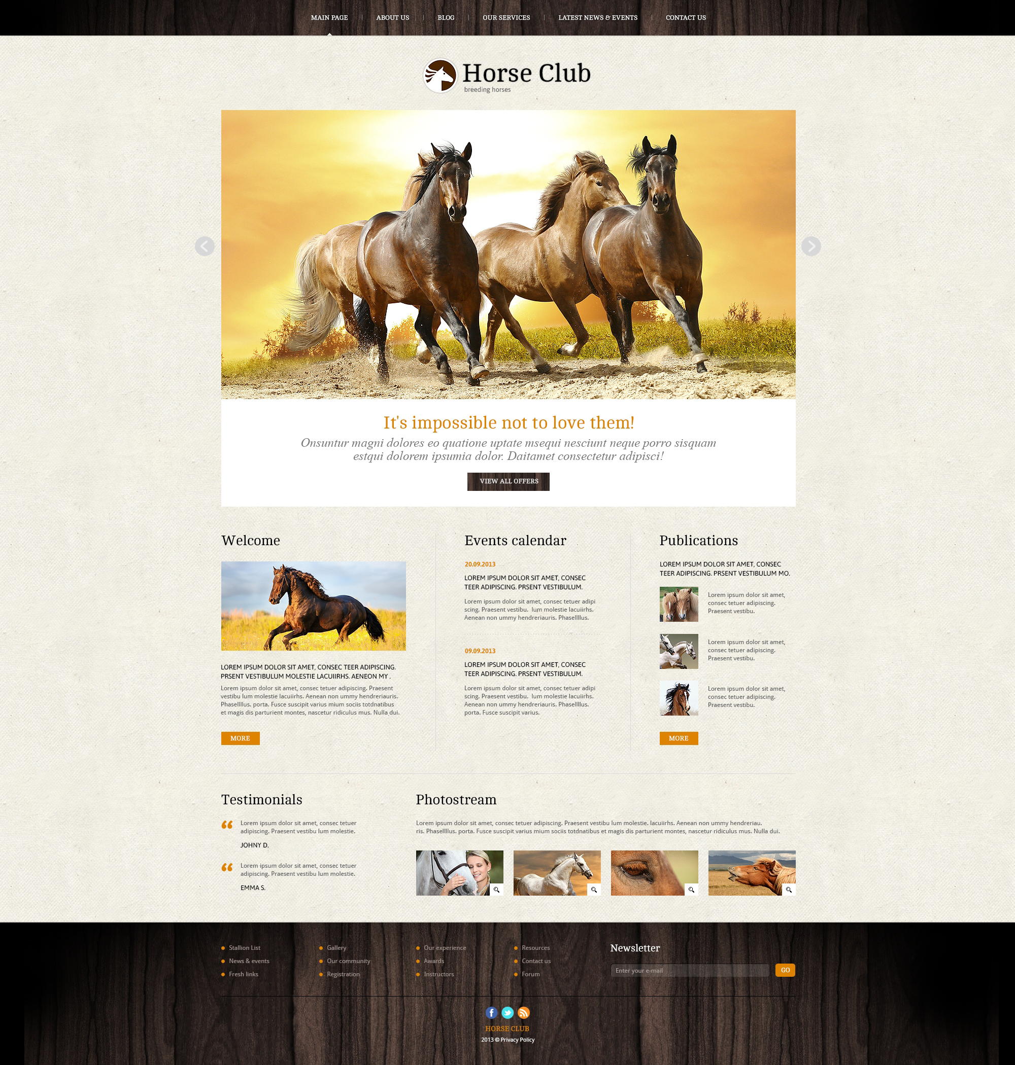 "Tema Joomla Responsive #46041 ""Pro Theme for Horse Business"""