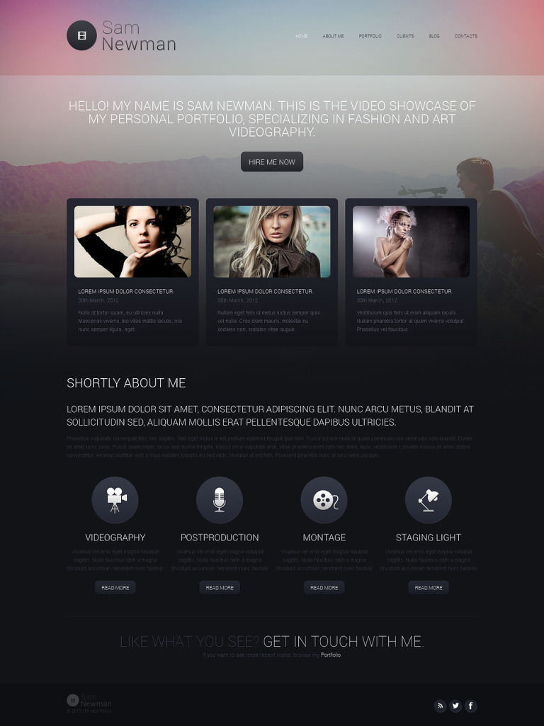 Videographer Portfolio Drupal Template New Screenshots BIG