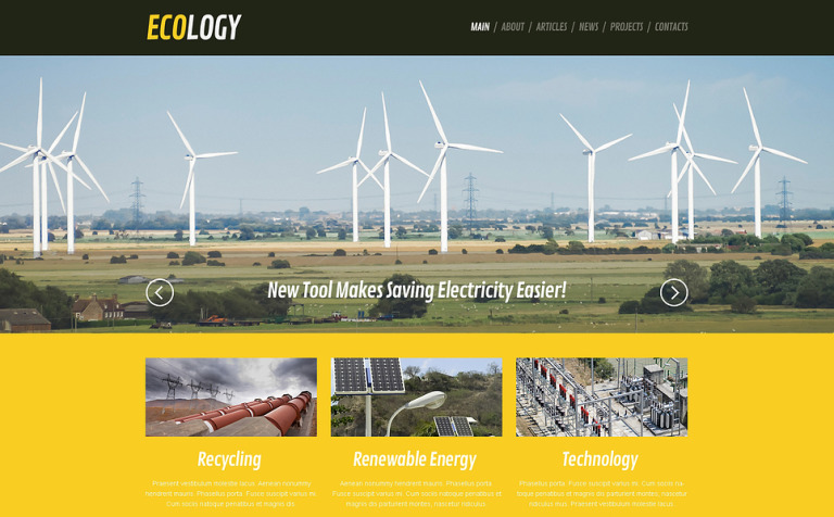 Wind Energy Responsive WordPress Theme #46025