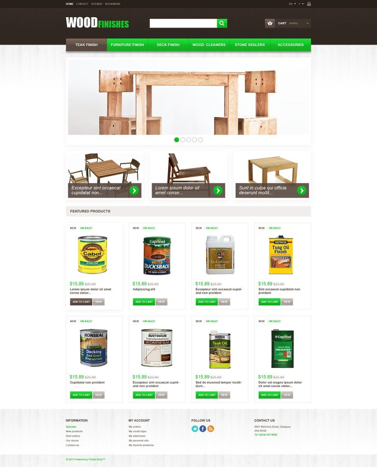 Wood Finishes PrestaShop Theme New Screenshots BIG