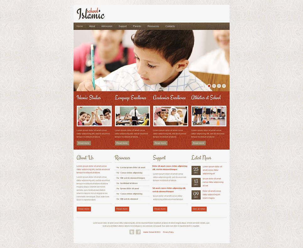 Islamic School Website Template with Creative Typography - image