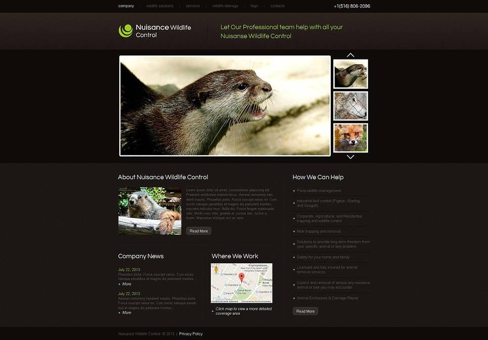 Wildlife Control Company Website Template in Dark Brown Tones - image
