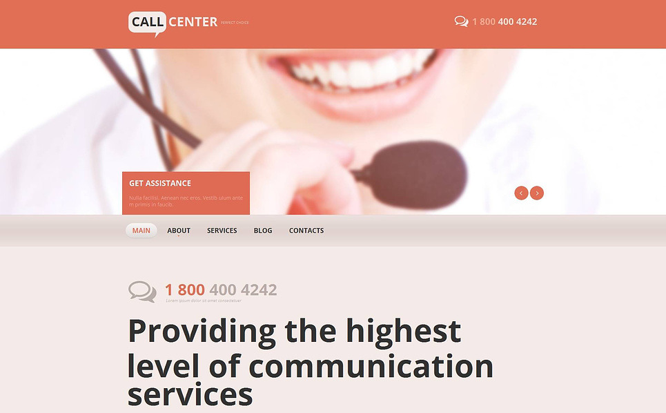 Template Moto CMS HTML para Sites de Empresas de Call Center №46117 New Screenshots BIG
