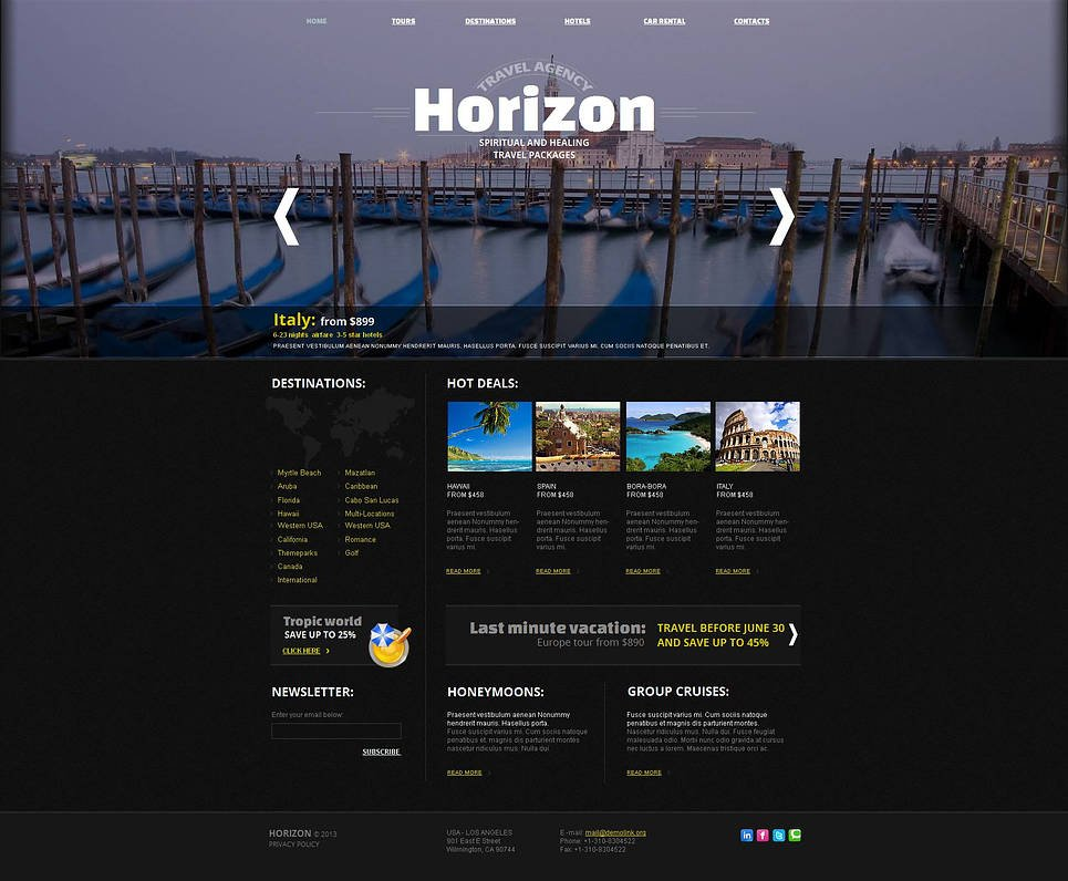 Black Travel Agency Website Template with a Photographic Header - image