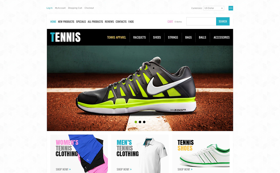 Modello ZenCart  #46175 per Un Sito di Tennis New Screenshots BIG