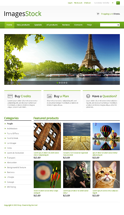 ZenCart Template 46178 Main Page Screenshot