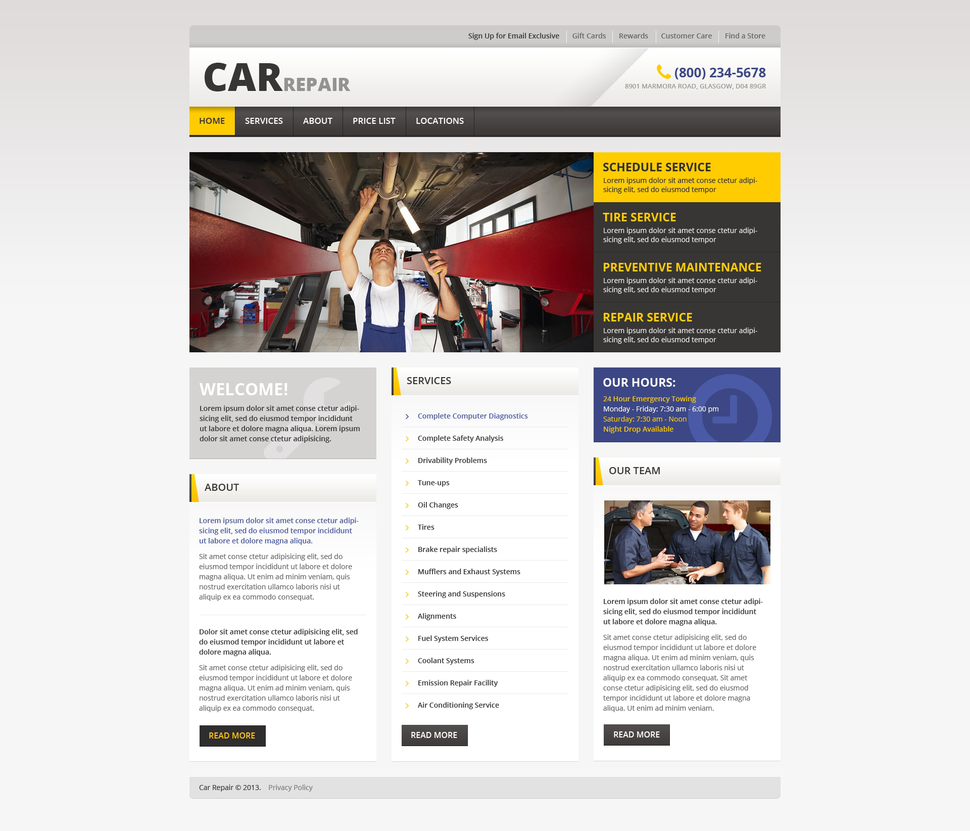 Car Repair Responsive Website Template 46162