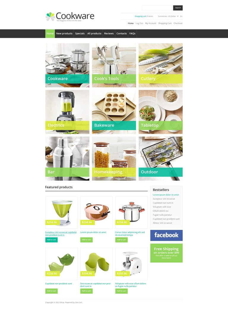 Cookware ZenCart Template New Screenshots BIG