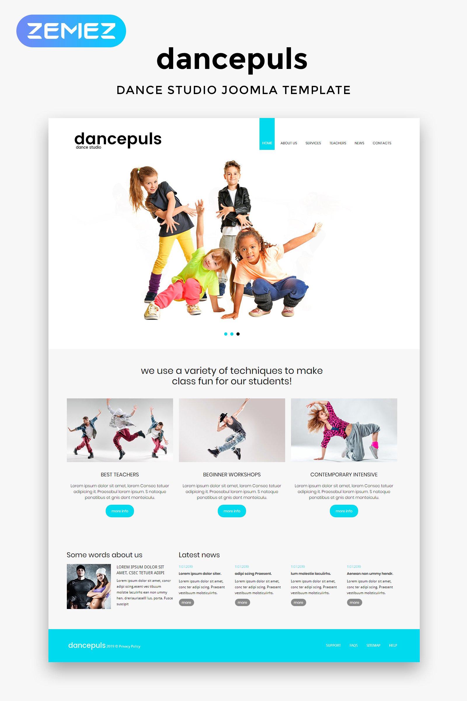 """""""Dancepuls - Dance Studio Responsive Clean"""" Responsive Joomla Template №46170"""