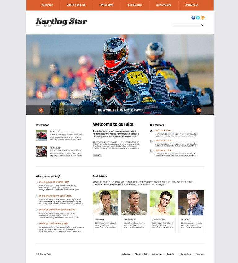 Karting Club Joomla Template New Screenshots BIG