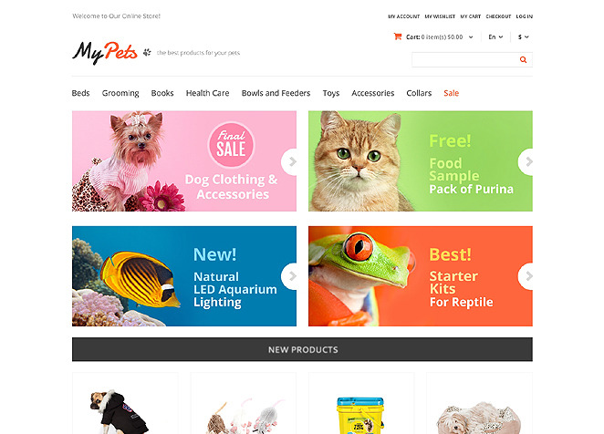My Pets Responsive Store Magento Theme