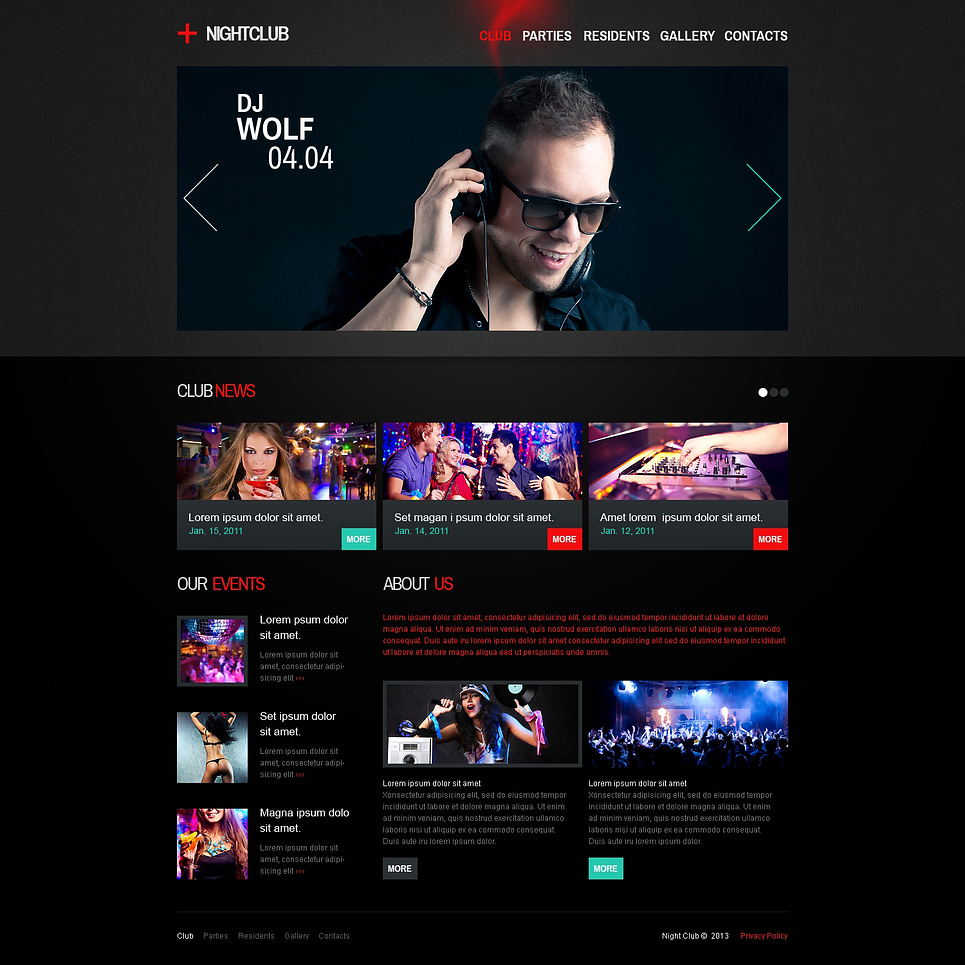 Night Club Responsive Website Template #46156