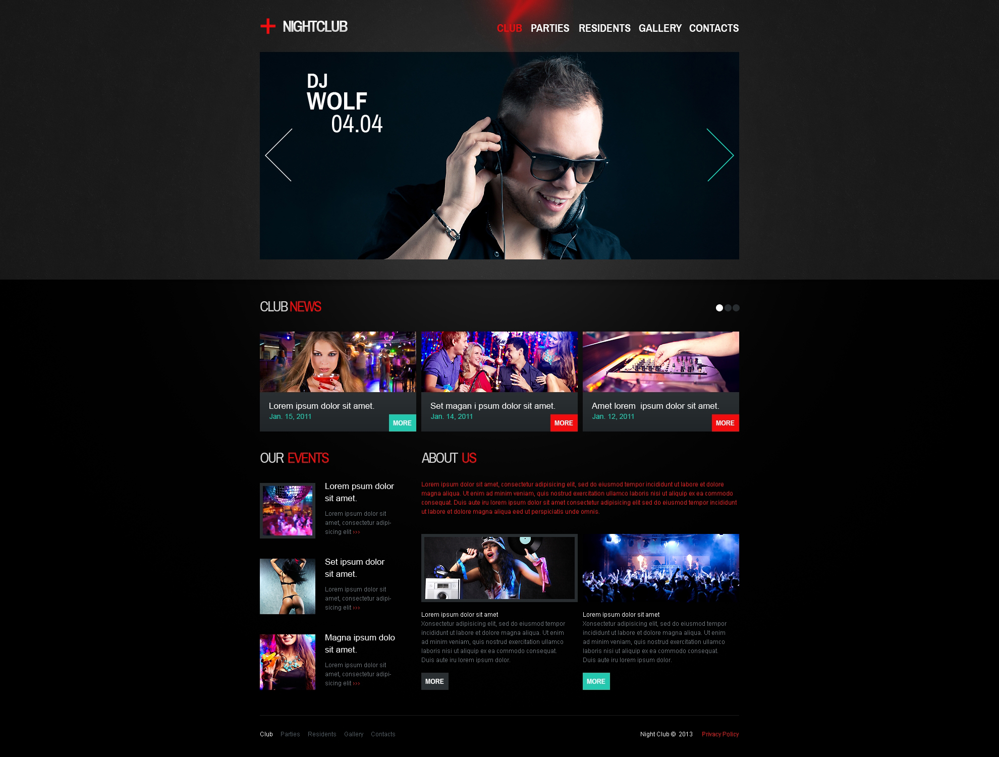 Night Club Responsive Website Template #46156