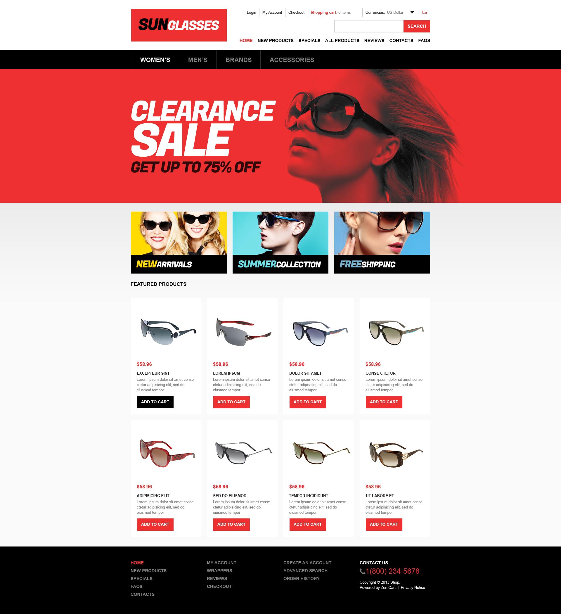 "Plantilla ZenCart ""Stylish Sunglasses Store"" #46177"