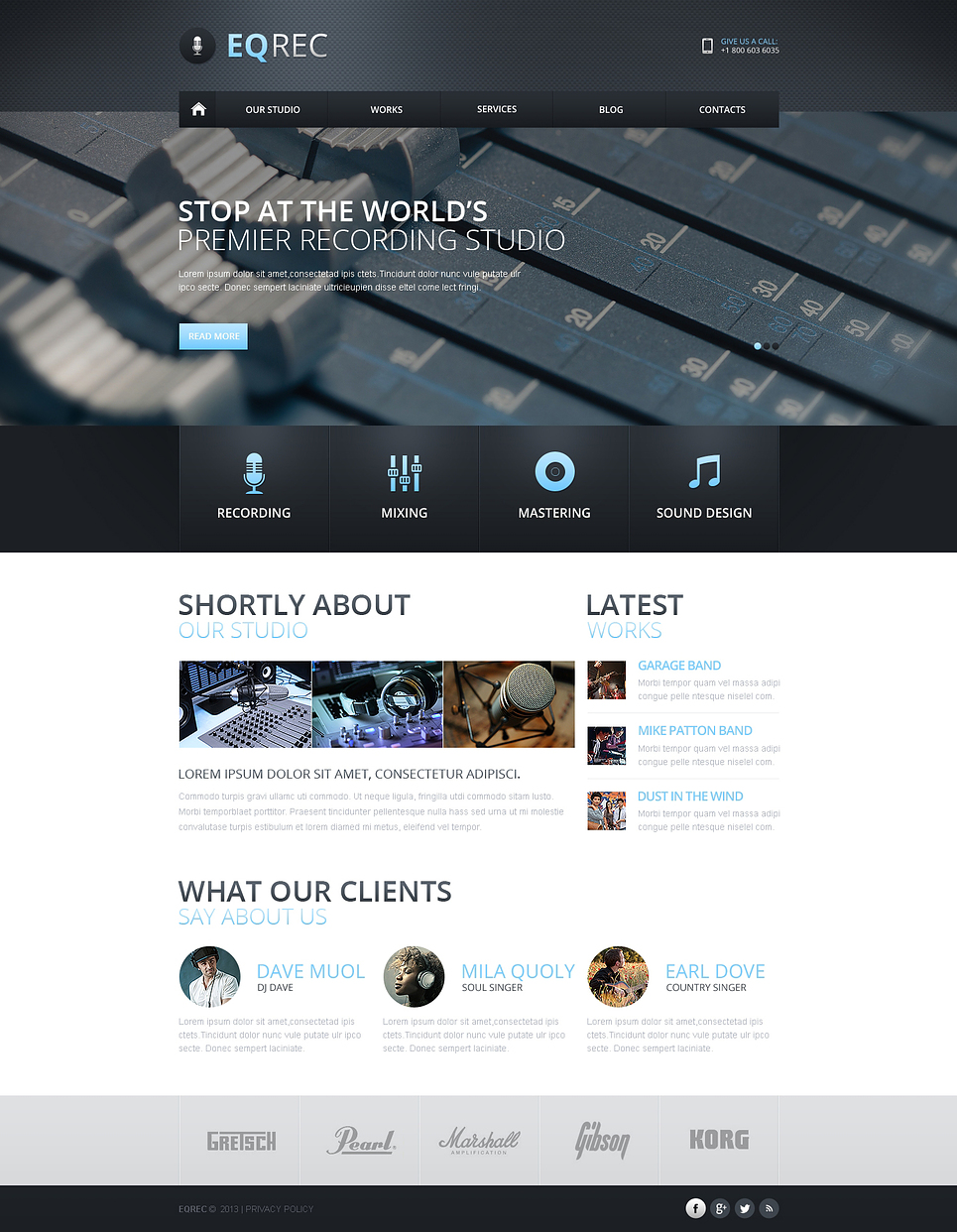 Recording studio responsive website template 46182 pronofoot35fo Image collections