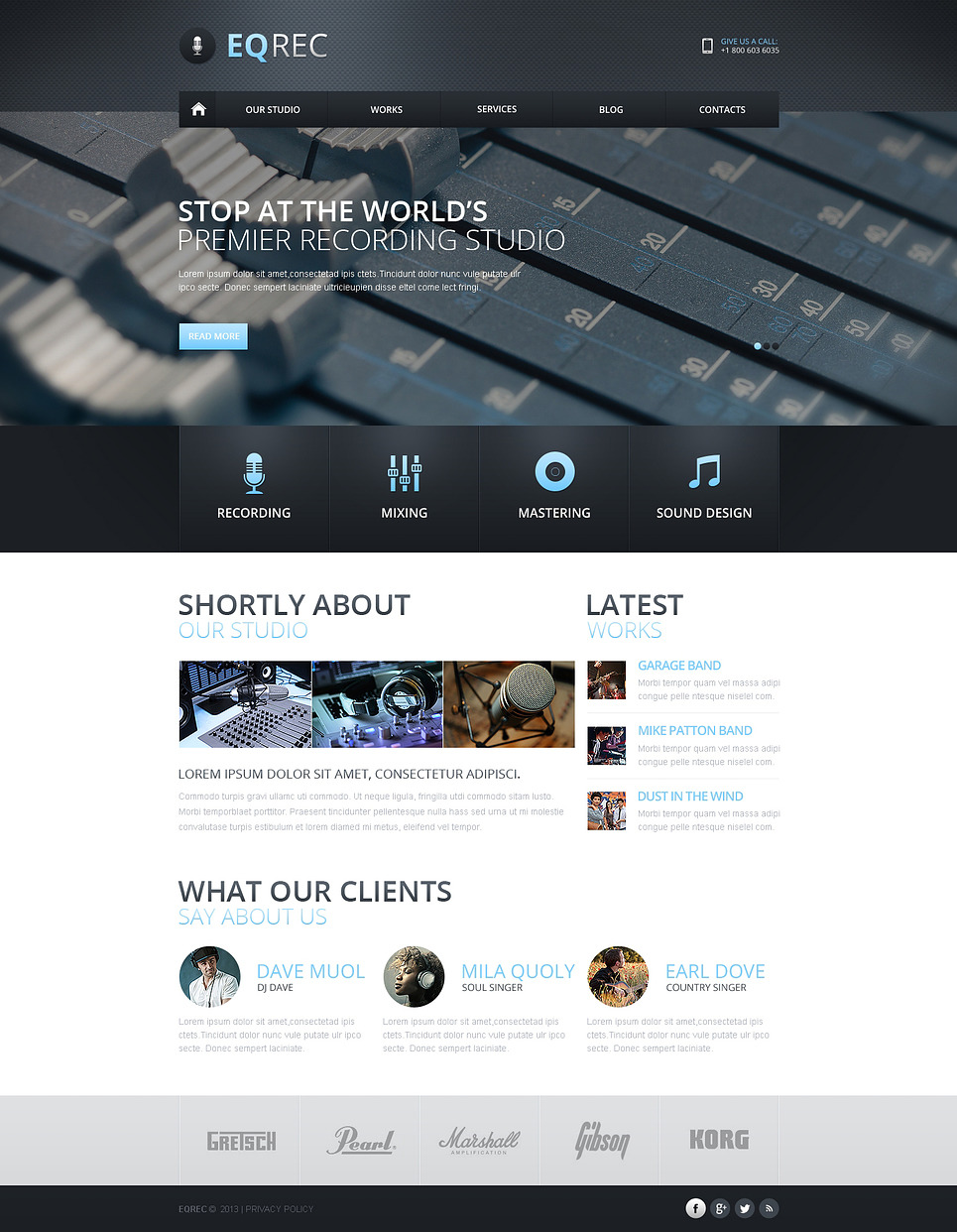 Recording Studio Responsive Website Template New Screenshots BIG