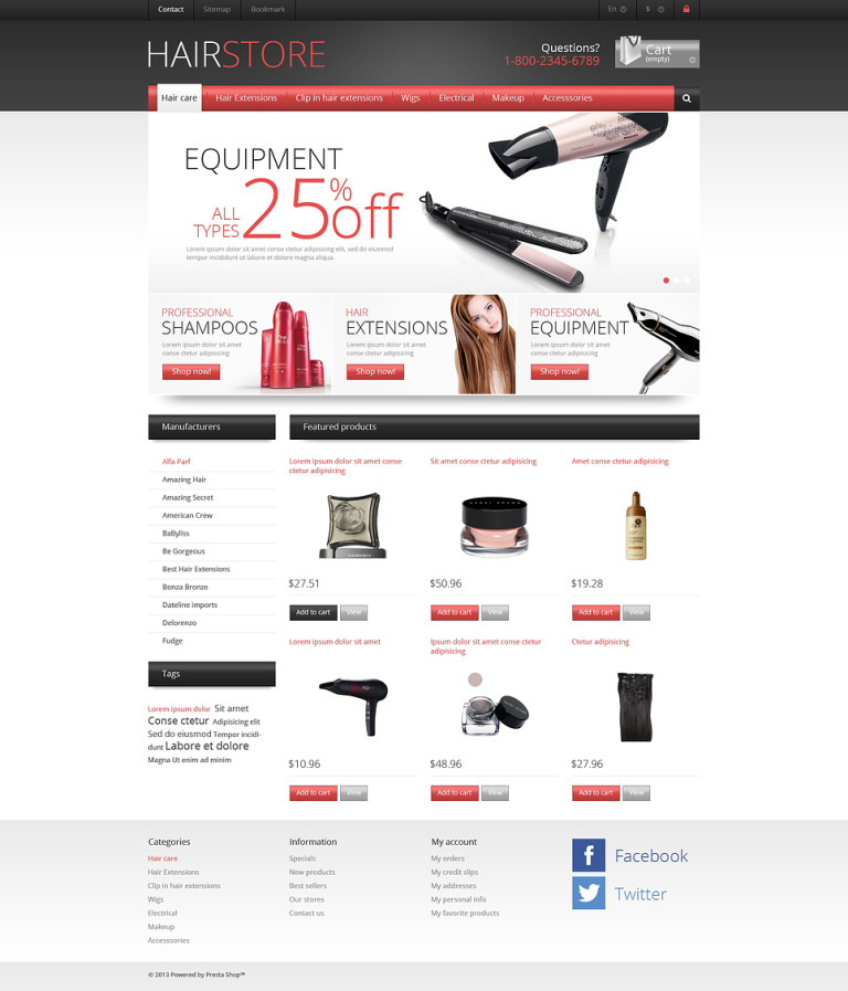 Responsive Hair Store PrestaShop Theme New Screenshots BIG