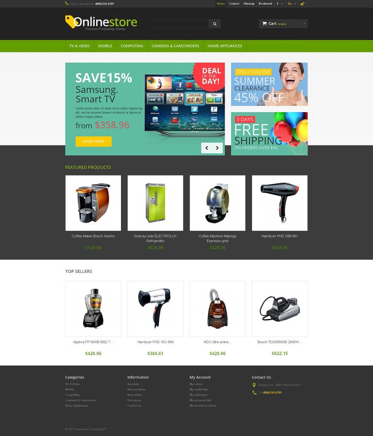Responsive Online Store PrestaShop Theme New Screenshots BIG