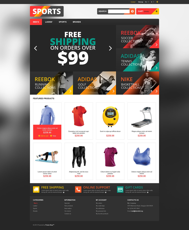 Responsive Sports Store PrestaShop Theme New Screenshots BIG
