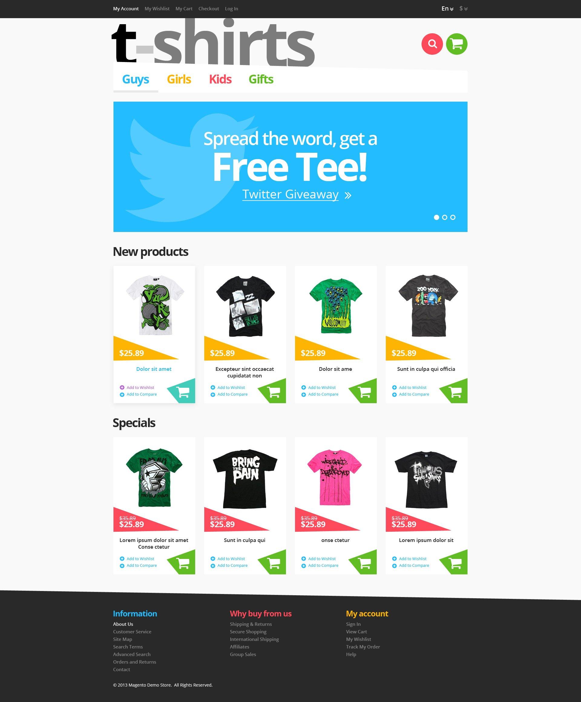 """Responsive T-Shirts Store"" 响应式Magento模板 #46173 - 截图"