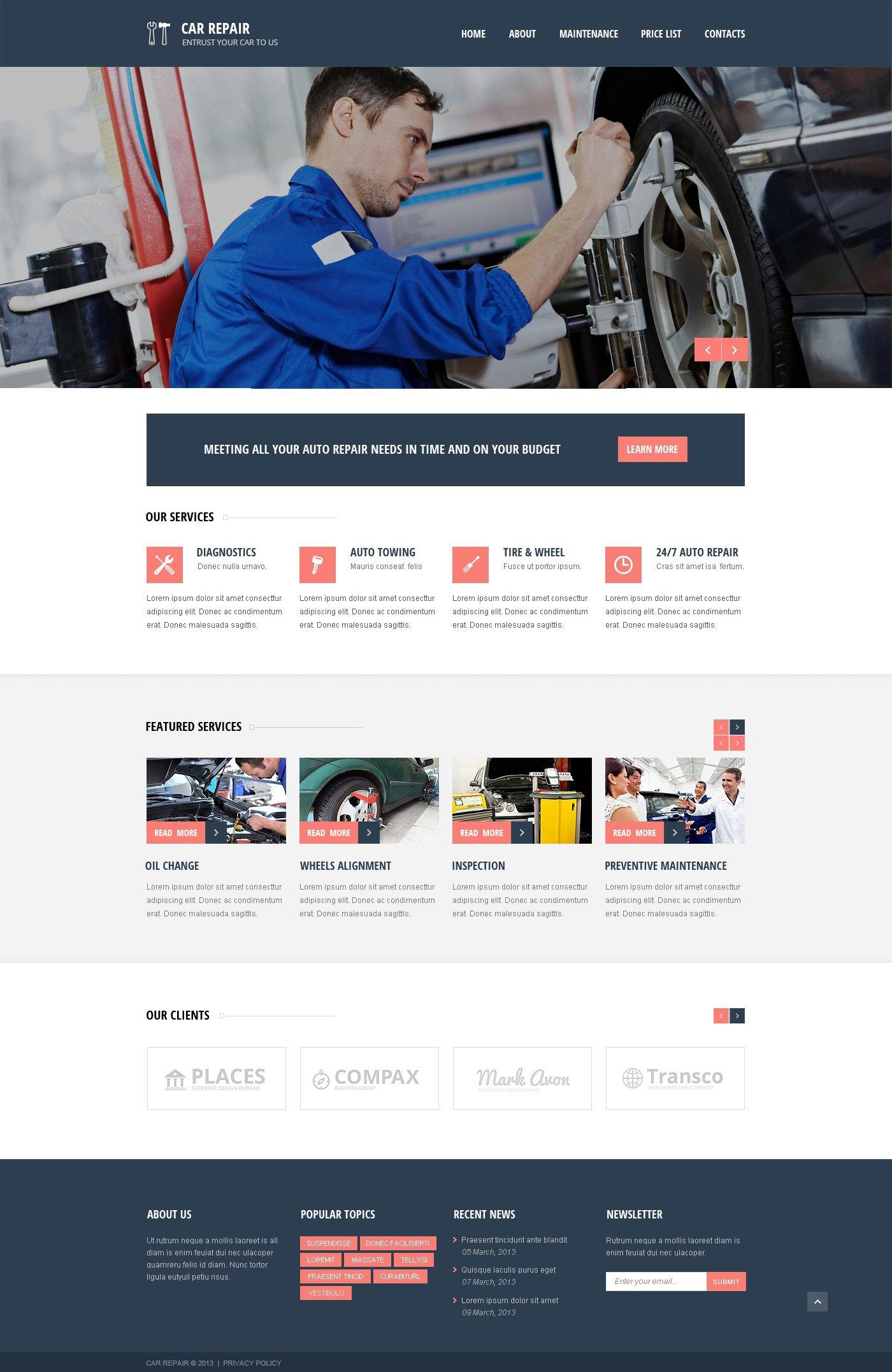 Reszponzív Autószerelői Weboldal sablon 46196 - képernyőkép