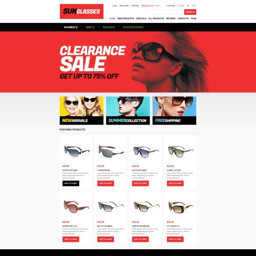 Sun Glasses - HTML5 ZenCart Template
