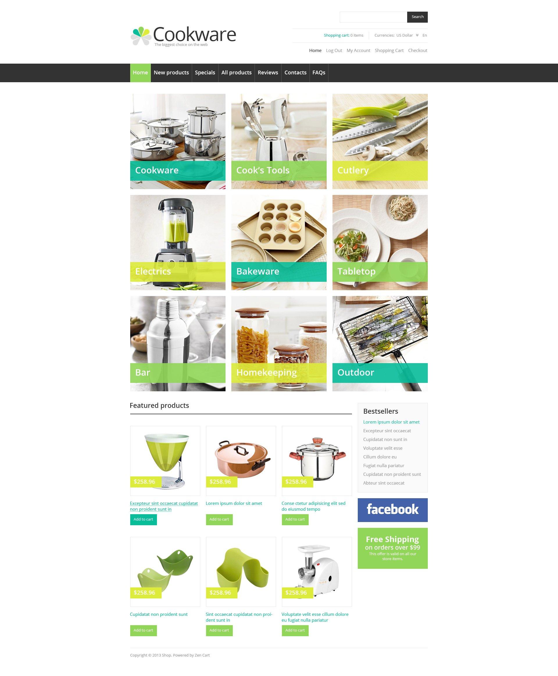 "Tema ZenCart #46179 ""Cookware"""