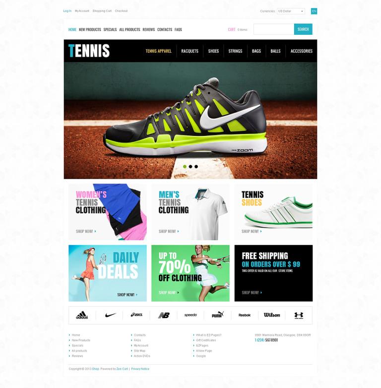 Tennis Store ZenCart Template New Screenshots BIG