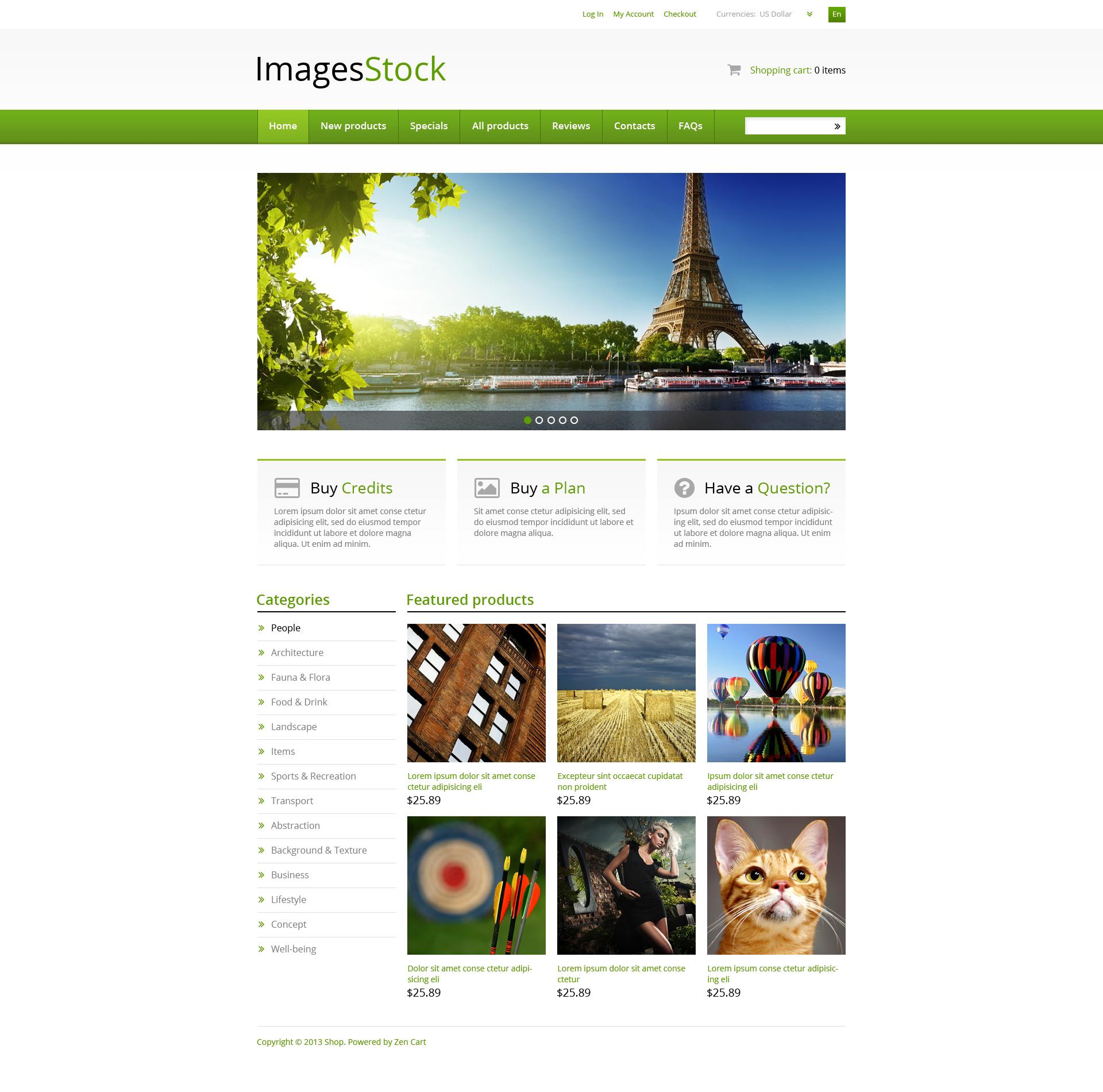 "ZenCart Vorlage namens ""Image Stock"" #46178"
