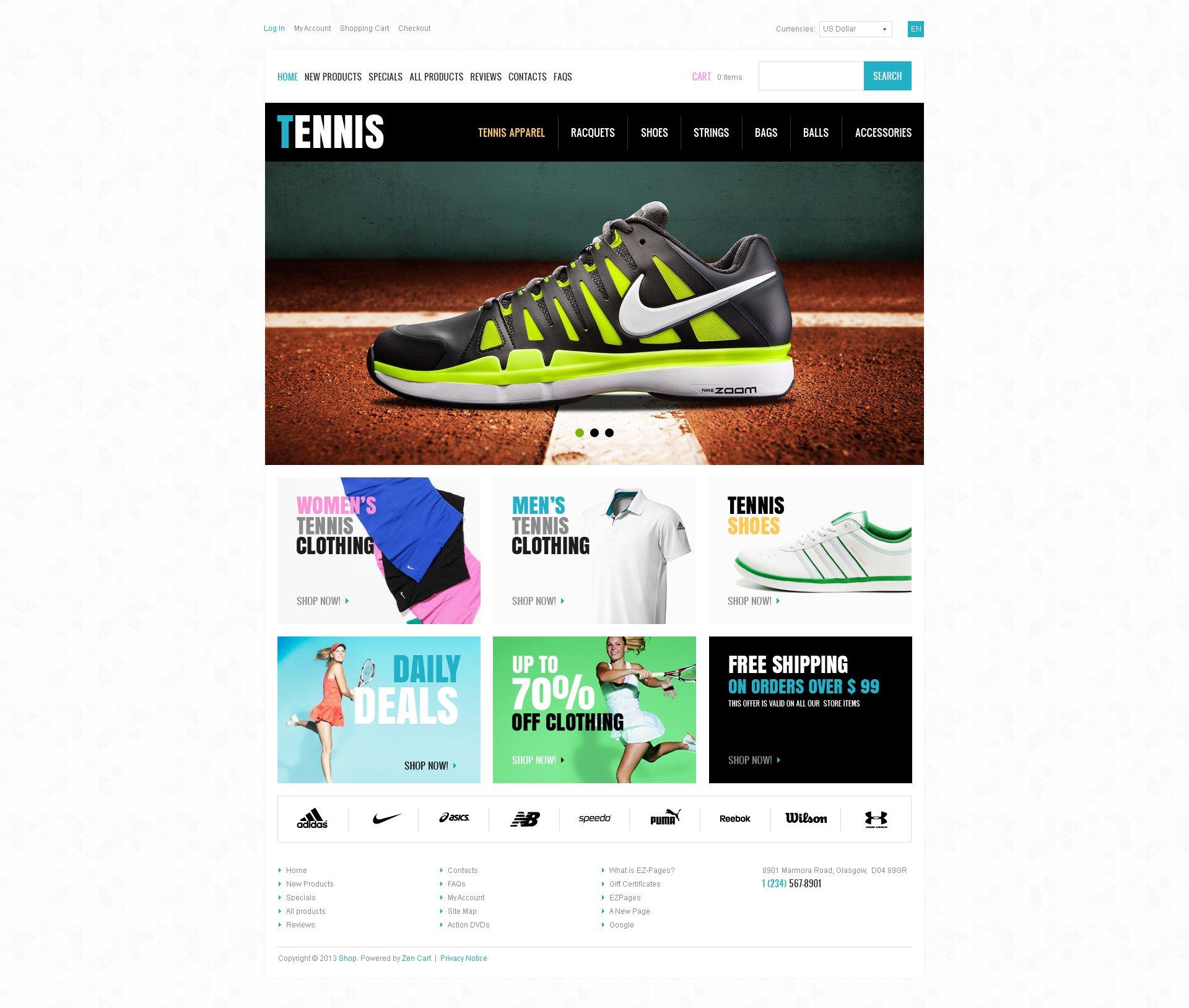"""ZenCart Vorlage namens """"Tennis Store"""" #46175"""
