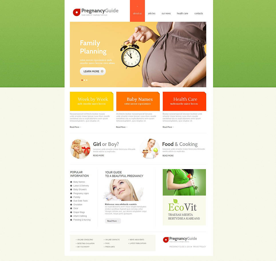 Pregnancy Guide Web Template with Green Header - image
