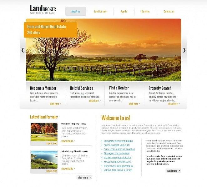Szablon Moto CMS HTML #46206 na temat: sprzedawca ziemi New Screenshots BIG