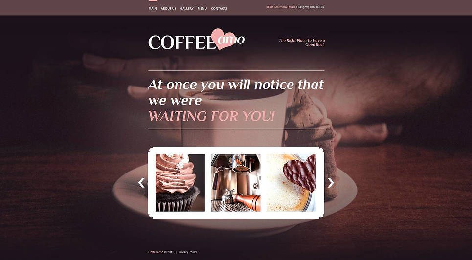 Coffee House Website Template with Sliding Gallery - image