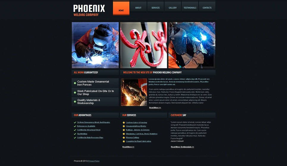 Welding Plant Website Template with Dark Background - image