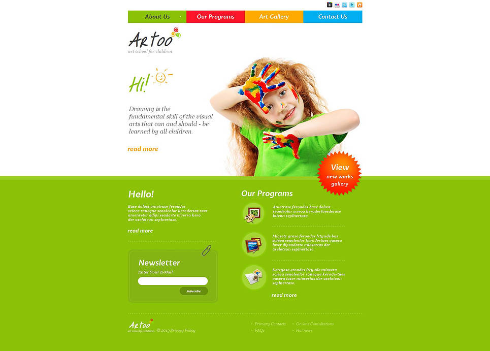 Art School Website Template Designed in Bright Tones - image