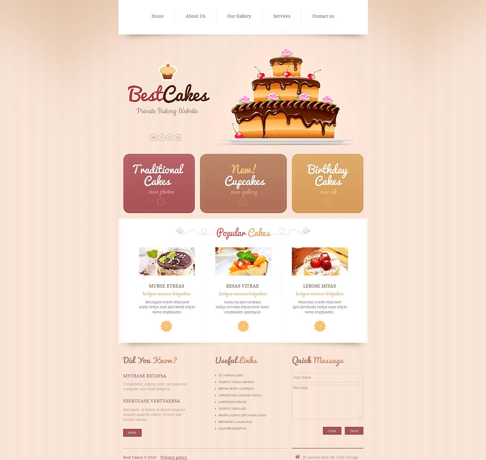 Bakery Website Template with a Nice Creamy Background - image