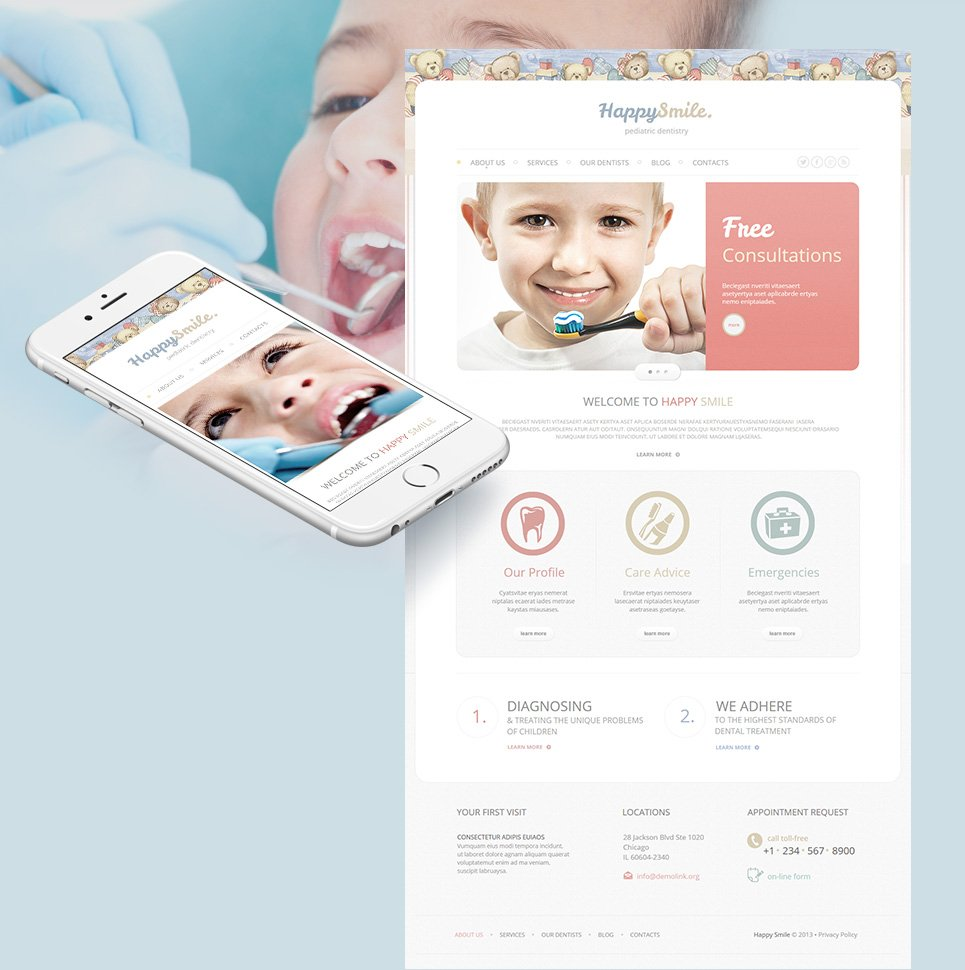 Pediatric Dentistry Website Template with Teddy Bears - image