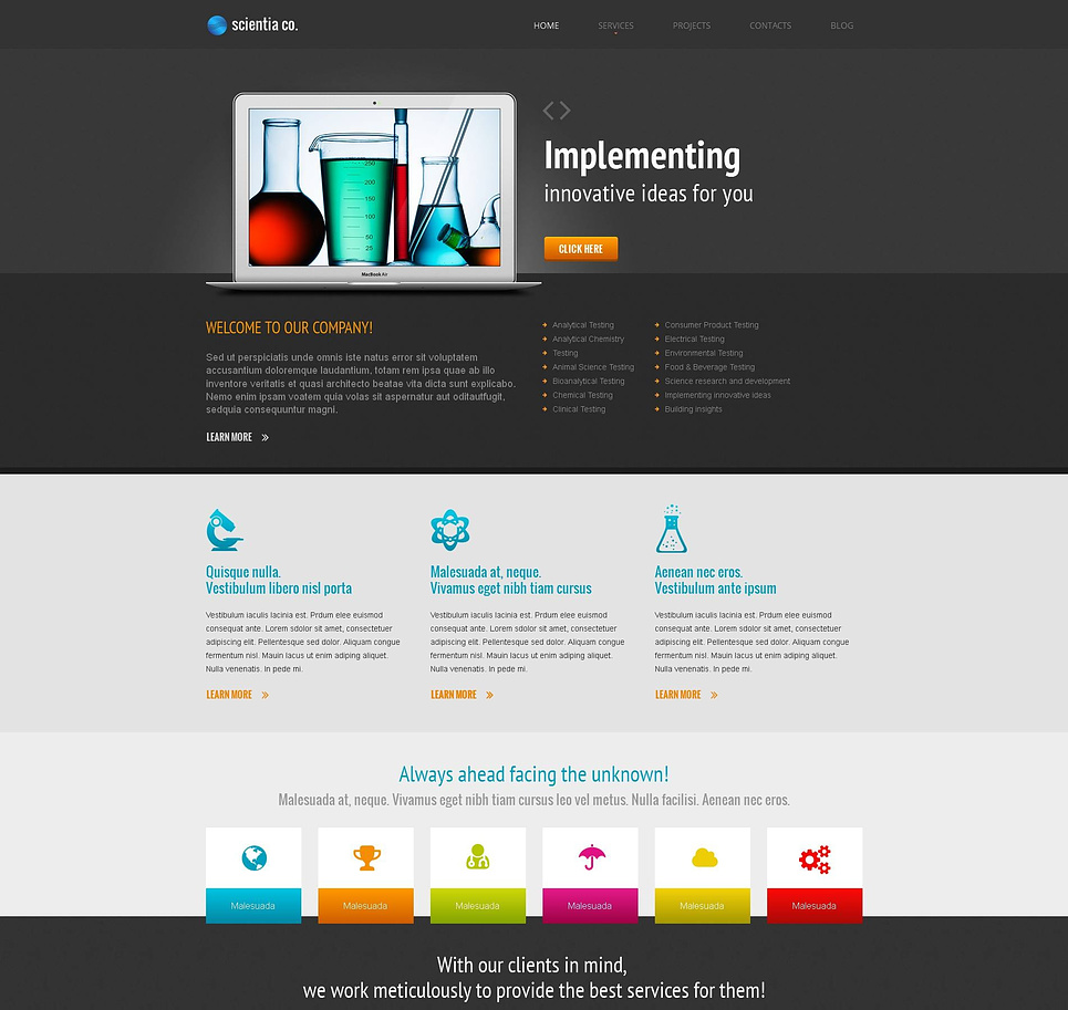 Science Lab Website Template with Creative Content Slider - image
