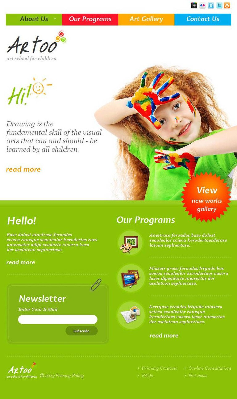 Art School Facebook HTML CMS Template New Screenshots BIG