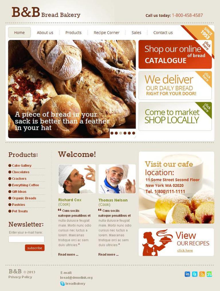 Bakery Facebook HTML CMS Template New Screenshots BIG