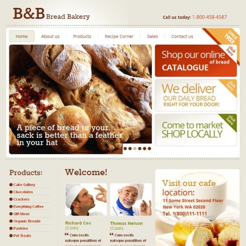 B&B Bread Bakery - Facebook HTML CMS Template