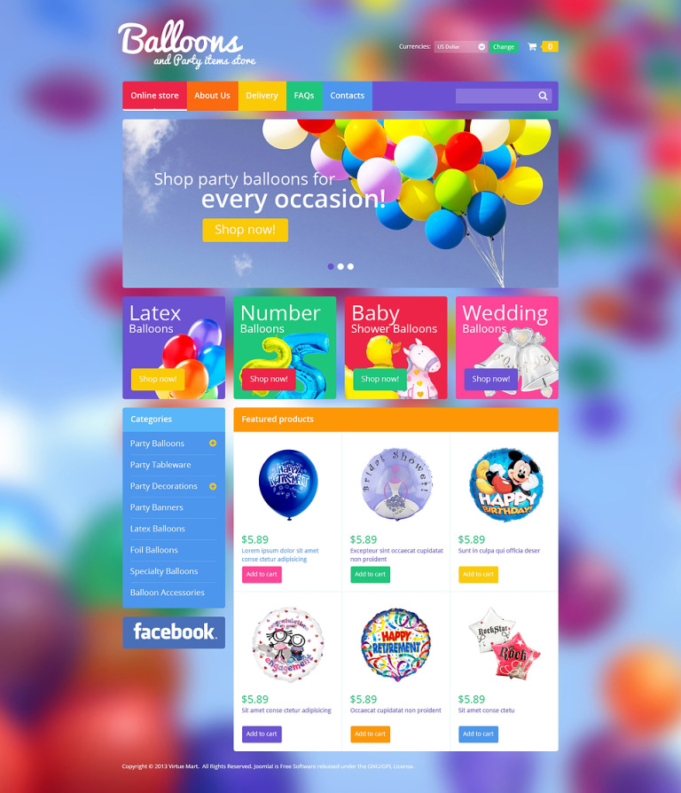 Balloons & Party Items VirtueMart Template New Screenshots BIG