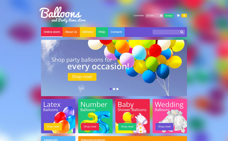 Balloons & Party Items VirtueMart Template