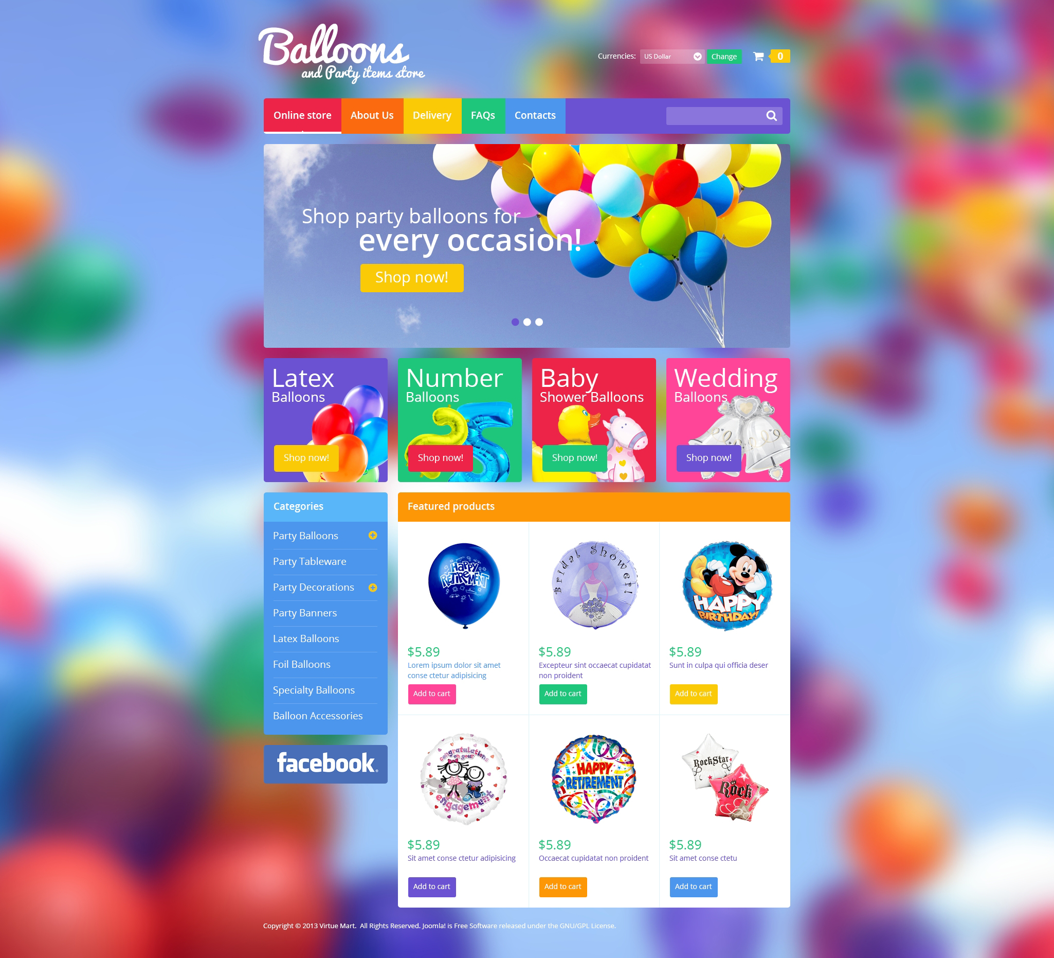 balloons u0026 party items virtuemart template 46284